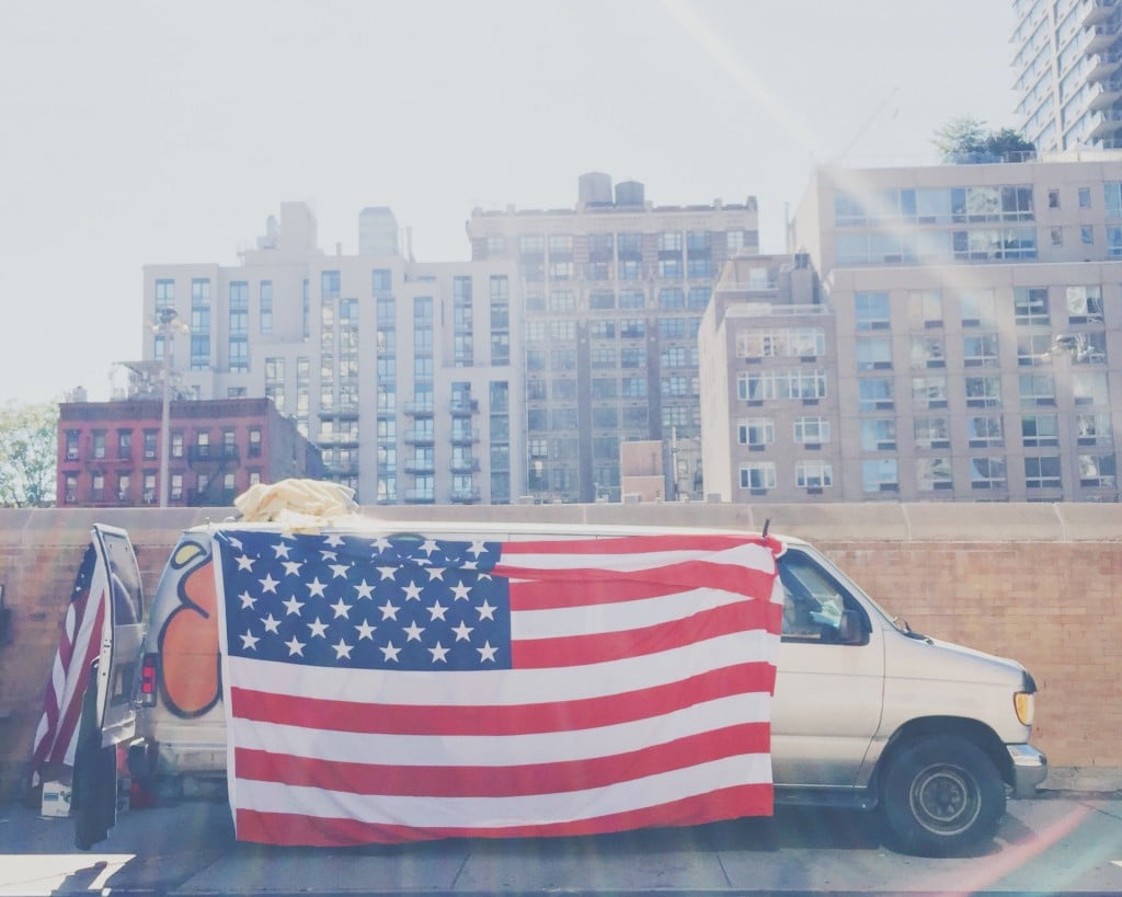 america flag on a van