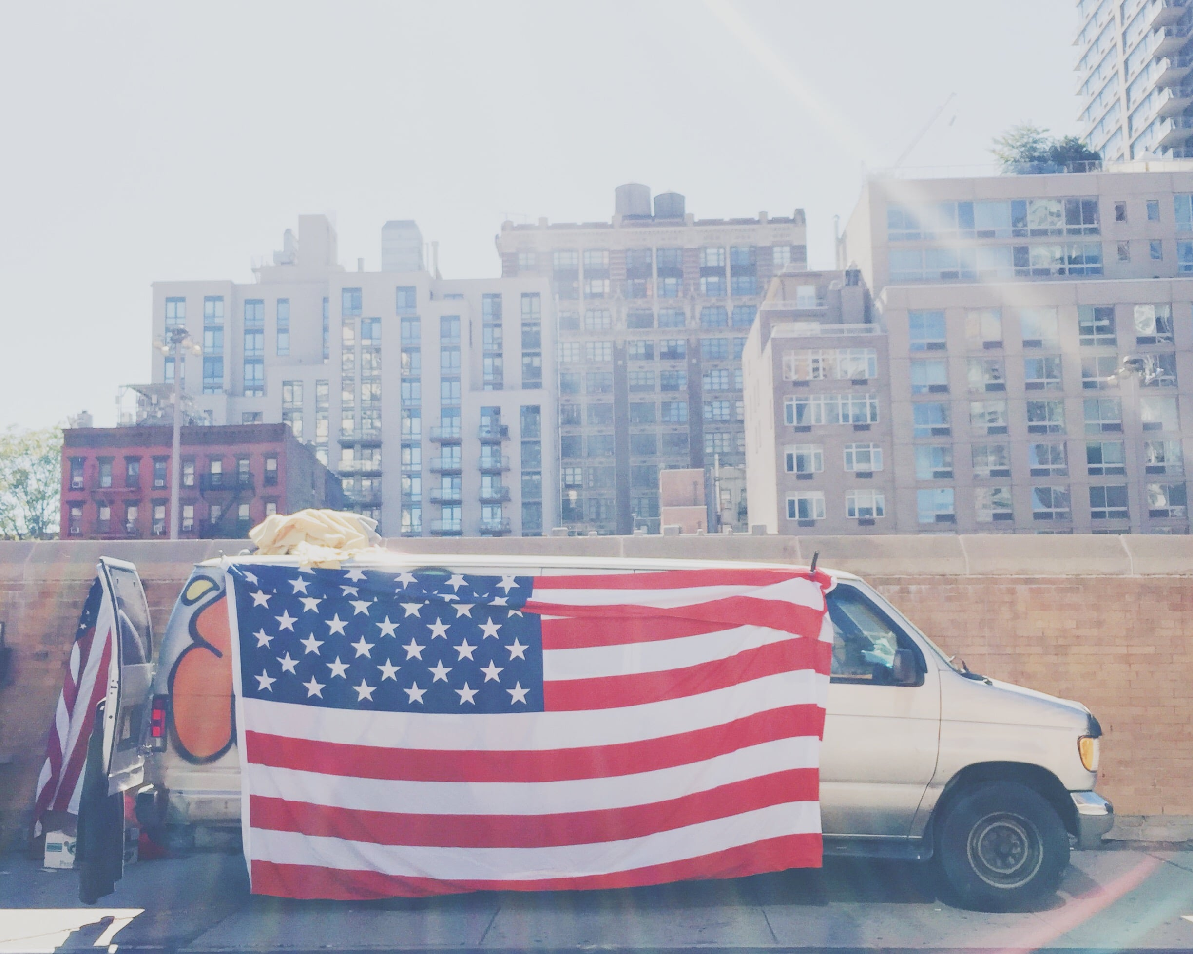 american flag on a van
