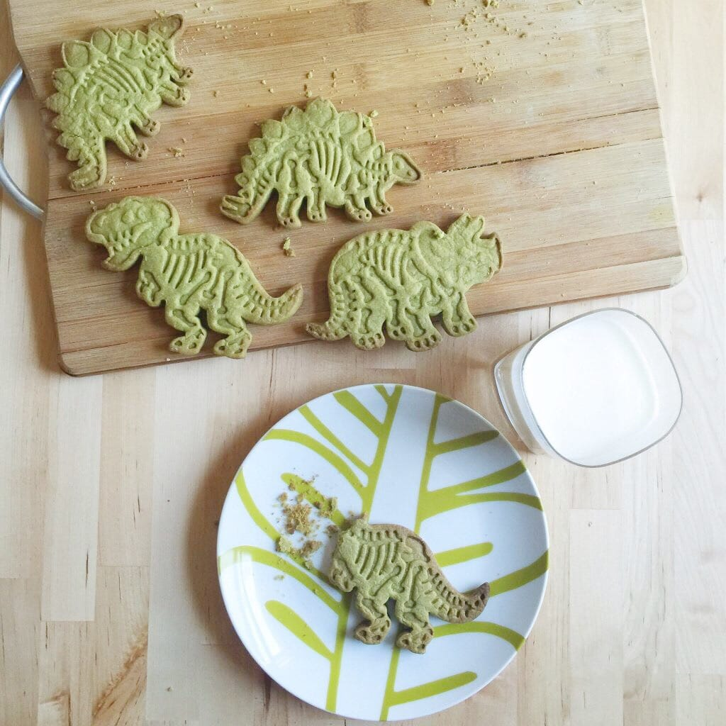 dinosaur cookies with milk