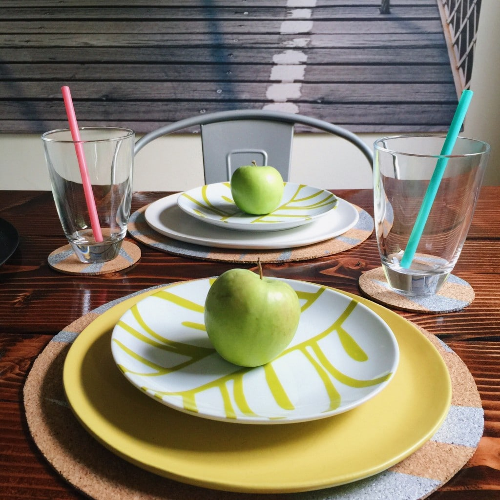 green apples on table setting