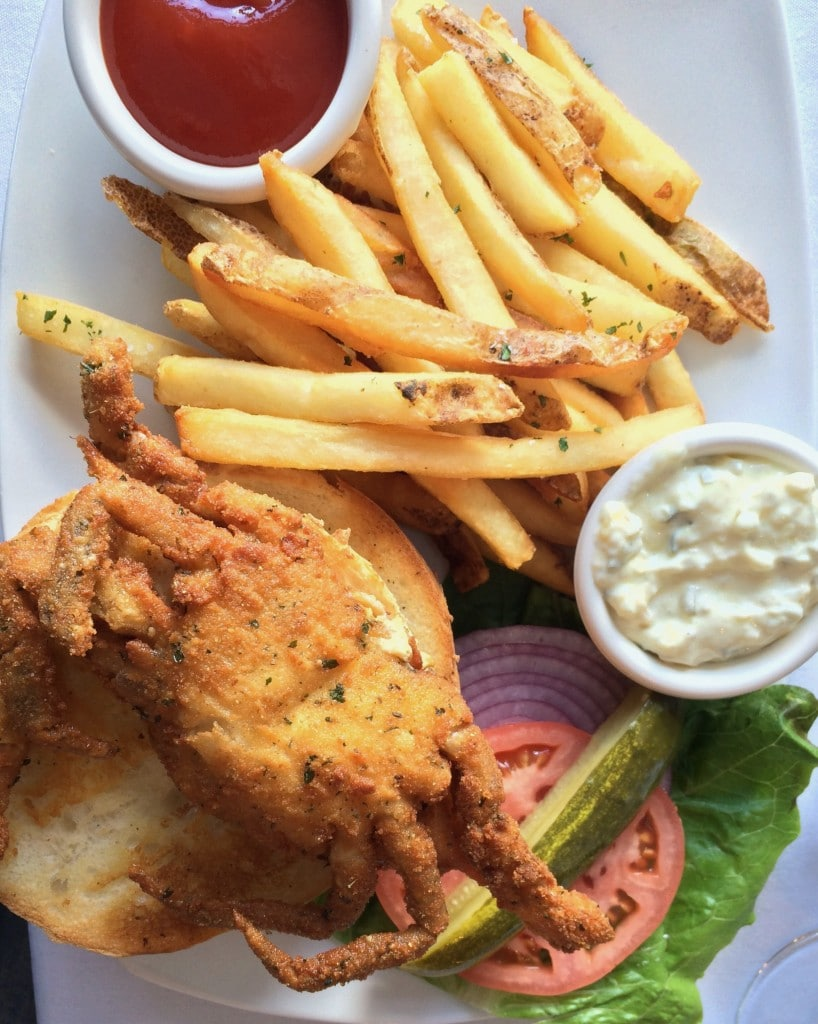 softshell crab sandwich fries