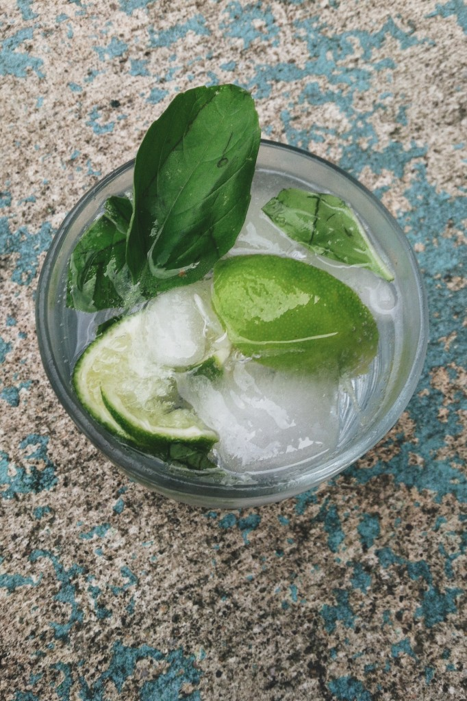drink with lime on ice