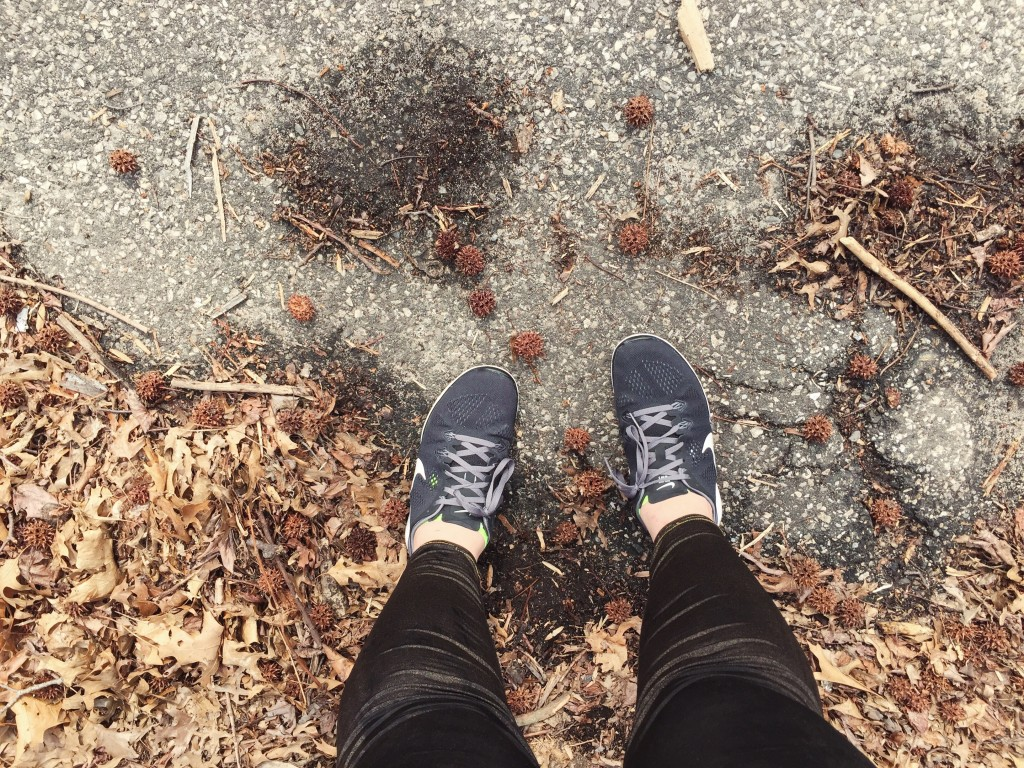 running shoes leaves