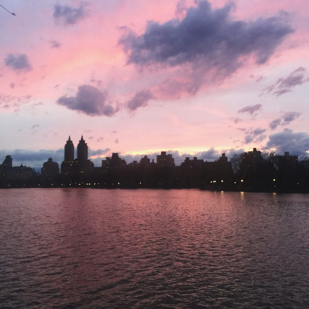 central park sunset water