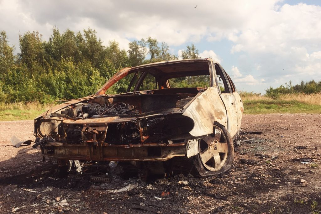 burnt out car wide