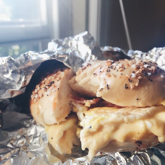 bacon egg and cheese on an everything bagel