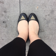 black shoes with gold