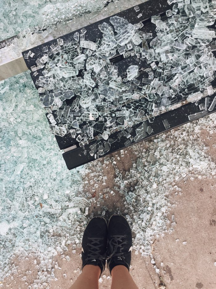 broken glass feet