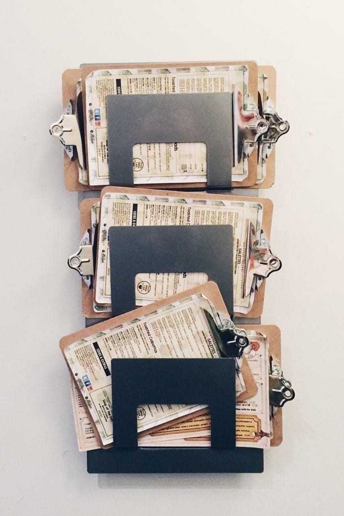 clipboards on white wall