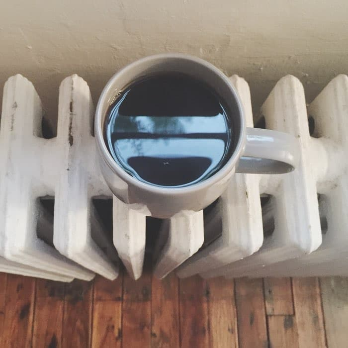 coffee on radiator