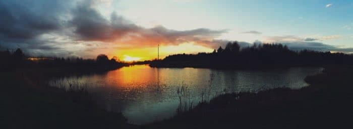 pano sunset at pond