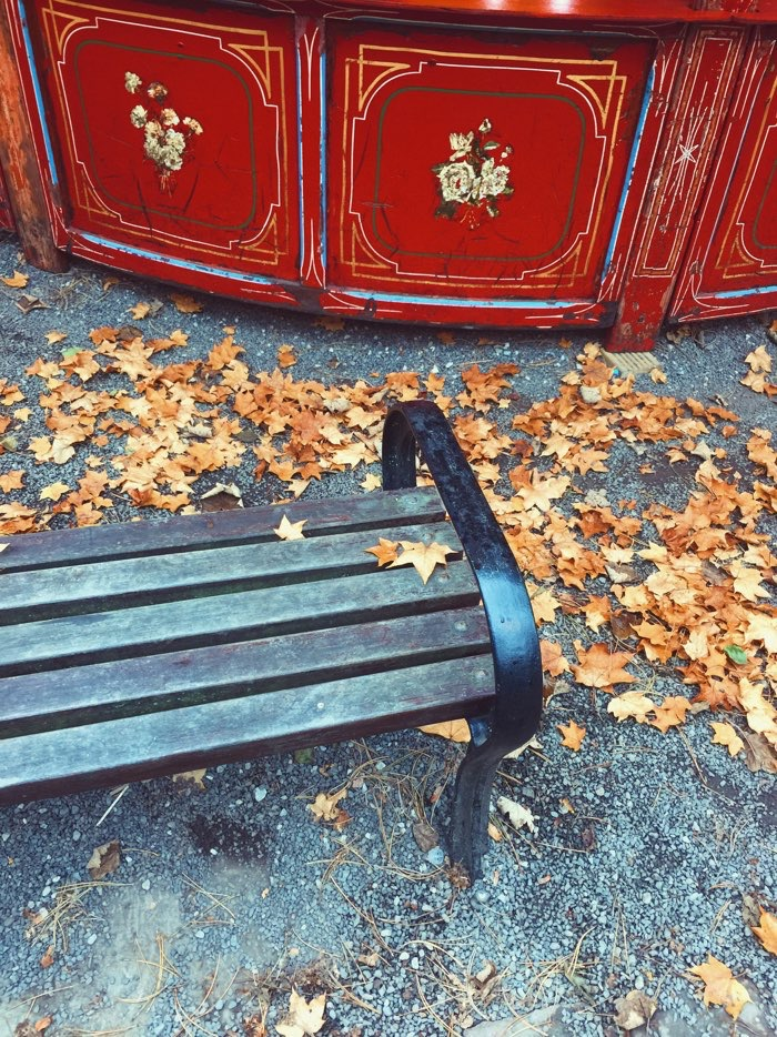 fall bench at carnival