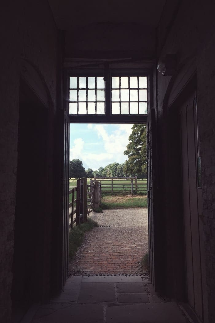 view of field through door