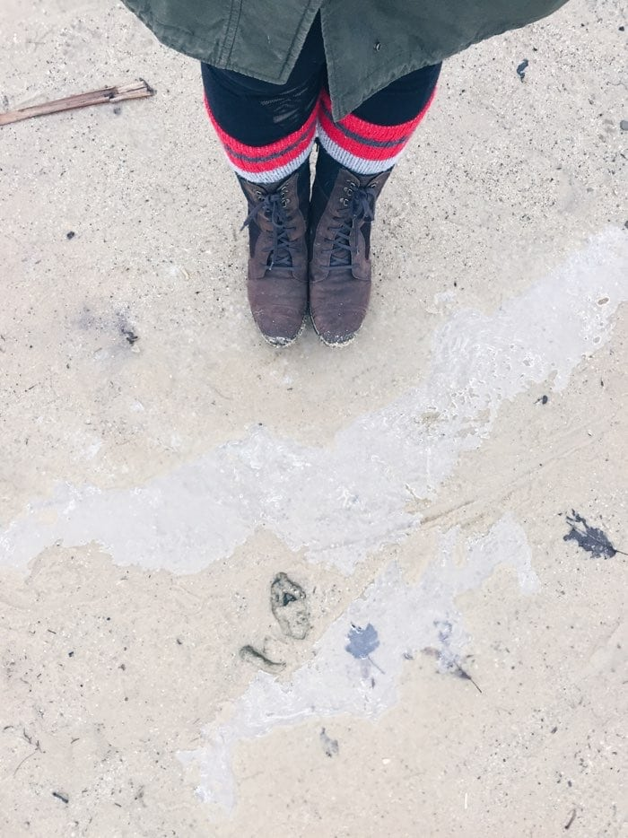 boots and jacket in winter