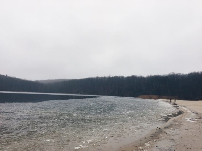 cloudy day at frozen lake