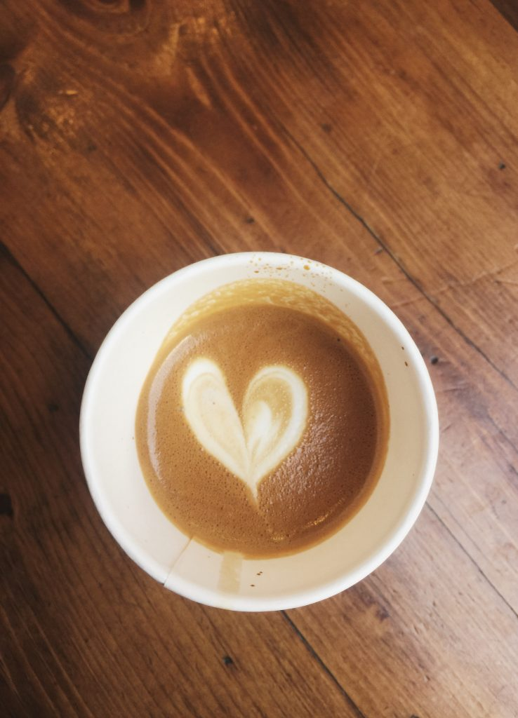 flat white coffee heart