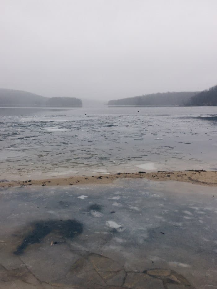 misty frozen lake